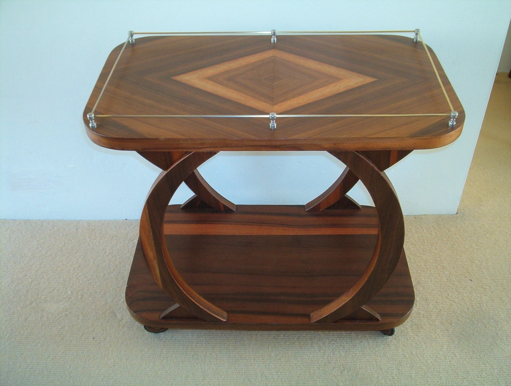 Trolley Coffee Table.Art Deco Nouveau Walnut Trolley Side Coffee Table Authentic Vintage Furniture