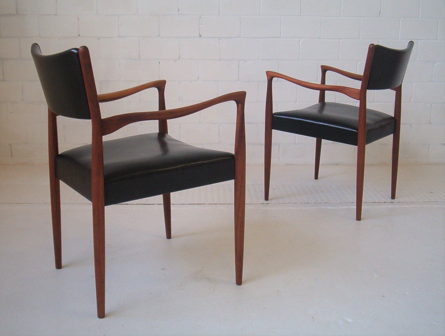 Pair Vintage Danish Style Dining Carver Arm Chairs By Parker