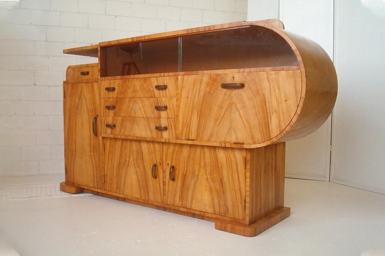 Art Deco Nouveau Worane Sideboard Buffet Cabinet Hand Built