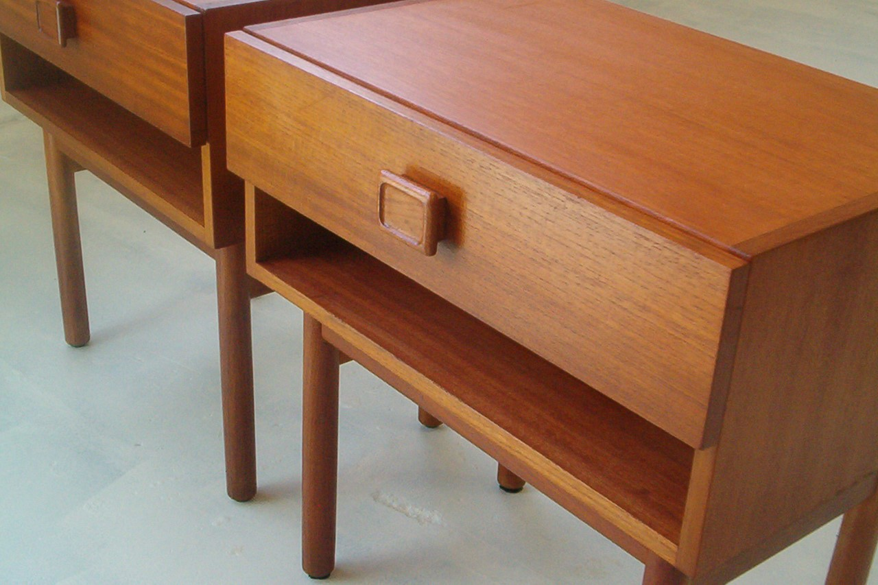 Pair Parker Furniture Vintage Retro Teak Bedside Tables Danish