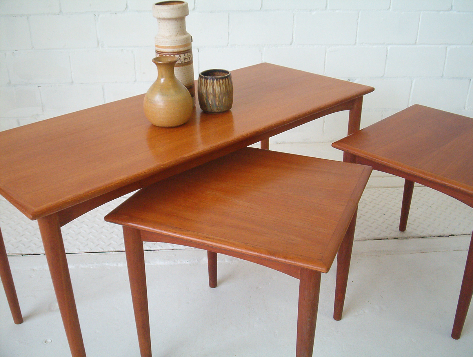Parker Furniture Teak Coffee Table 2 Side Tables Vintage Danish