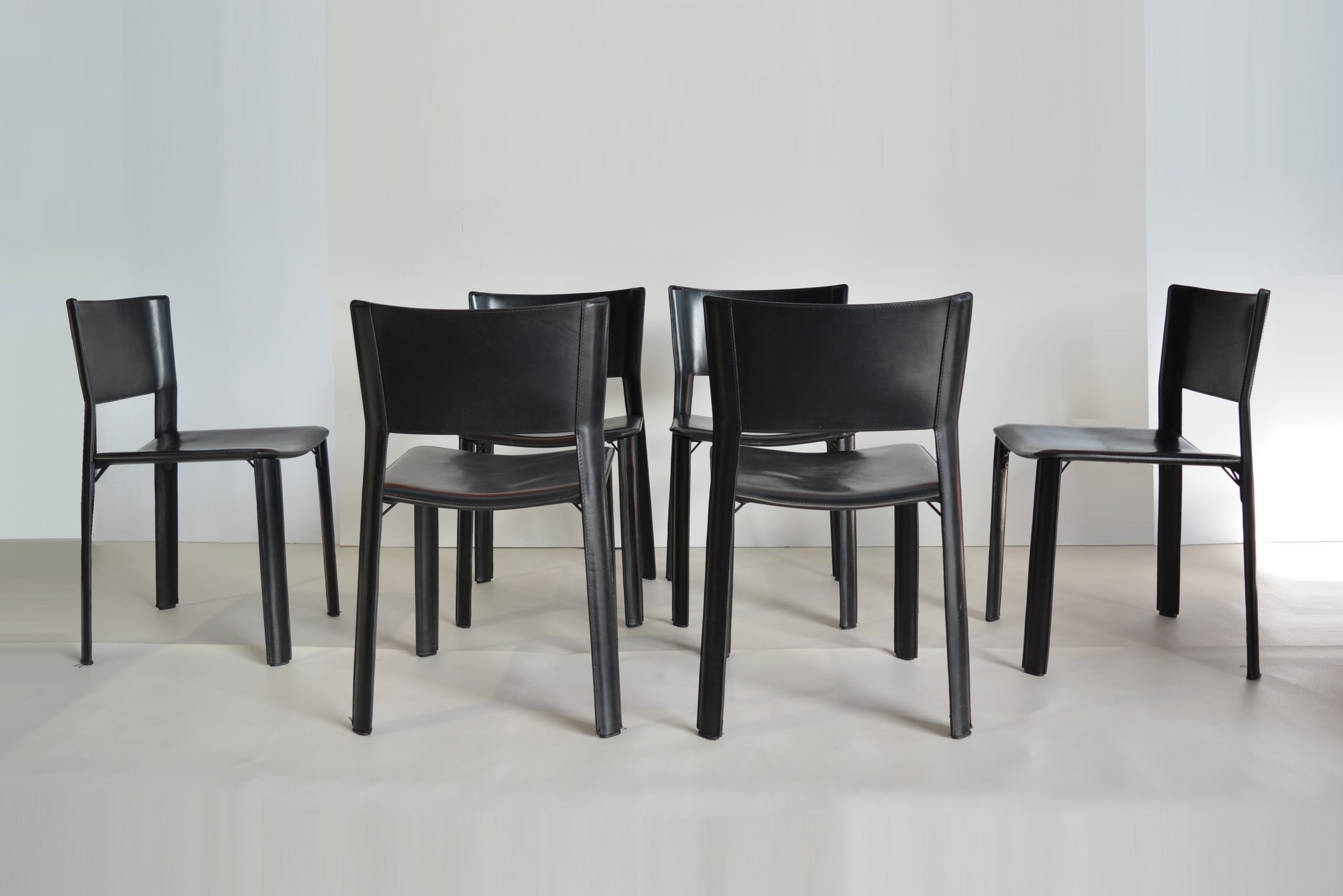 9 VINTAGE Fasem Leather Dining Chairs. S9 for Fasem Italy ...